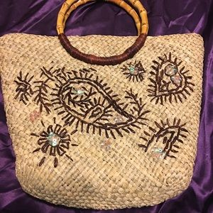 Sweet straw bag bamboo handles sequin embroidery